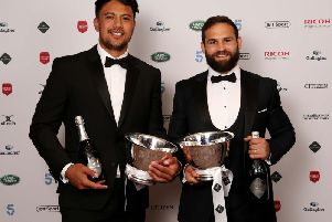 Cobus Reinach (right) and Denny Solomona shared the Premiership's top try scorer accolade