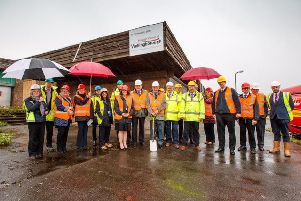Representatives from Wellingborough Borough Council, housing association Greatwell Homes and construction firm Lindum Group at the site of the Solomon Place development in Lea Way, Wellingborough, before building work began.