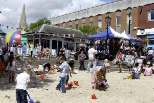 The market square in Wellingborough transformed into a beach scene during last year's annual event.