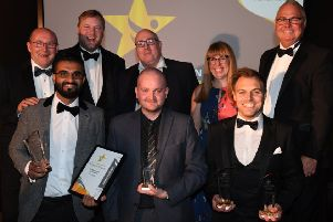 Parm Bhangal, Allen Tew and Nathan Taylor-Allkins with their awards and the awards sponsors.