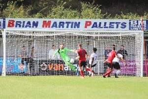 Kettering Town goalkeeper Paul White is beaten by Joshua Kayode's stoppage-time strike as Gateshead claimed a 2-1 win at Latimer Park. Picture by Peter Short