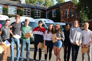 Pupils celebrate their results.