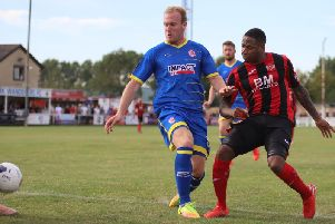Aaron O'Connor was back in the Kettering Town starting line-up as they picked up a much-needed 2-1 win over Alfreton Town. Picture by Peter Short