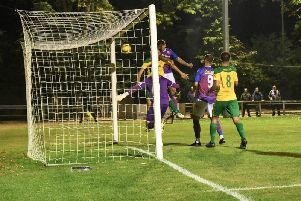 Jack Ashton heads home AFC Rushden & Diamonds' goal in their 1-1 draw at Hitchin Town last night. Pictures courtesy of HawkinsImages