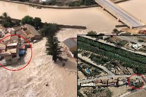The scale of the flood can be seen in before and after aerial photographs. Richard Cavender's home is circled in both images.