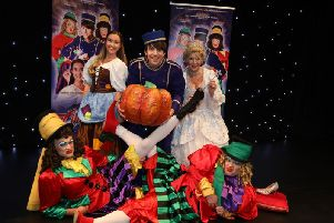 The cast of Cinderella at Kettering's panto launch today