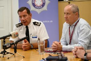 Chief Constable Nick Adderley and police, fire and crime commissioner Stephen Mold talk about the damning report into Northamptonshire Police. Photo: Northamptonshire Police