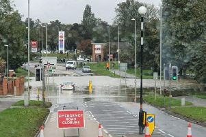 Oakley Road was also flooded at its junction with Gainsborough road