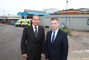 Health minister Edward Argar (right) with Kettering MP Philip Hollobone at KGH