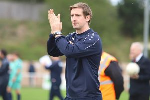 Joint caretaker-manager Steve Kinniburgh applauds the fans after Kettering Town's 2-0 home defeat to Spennymoor Town. Picture by Peter Short