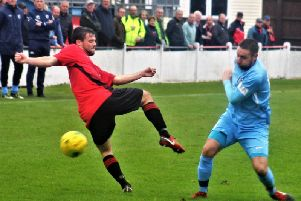 Steve Diggin in action for Corby Town during their 0-0 draw at Histon on Saturday. The two teams meet again in the Buildbase FA Trophy preliminary round replay at Steel Park tonight. Picture by David Tilley