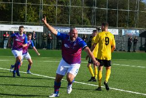 AFC Rushden & Diamonds captain Liam Dolman celebrates after he put them in front during the 1-1 draw at Rushall Olympic. Picture courtesy of HawkinsImages