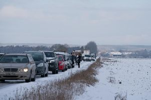 Long delays on South Fen Road caused by the A15 closure today. Photo: Sheila Curtis