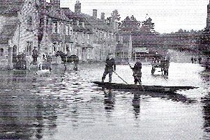 Wansford village during the 1912 floods