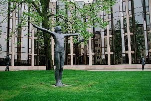 The Gormley statues in Touthill Place in the 1980s, photographed by Chris Porsz.