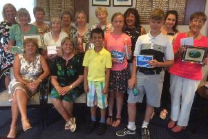 Peterborough Milton lady captain Ros Cuthbert held her Captain's Day on Friday in aid of her chosen charity Cancer Research. Above are some of the winners.