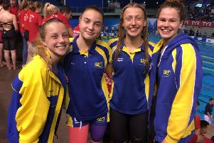 The COPS 4x100m medley relay team that won bronze. From the left are Amelia Monaghan, Eve Wright, Mackenzie Whyatt anbd Mia Leech.