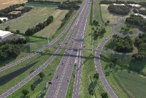 An artist's impression of the new A14 at Swavesey, including a dedicated bridge for pedestrians, cyclists and equestrians