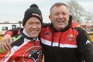 Ged Rathbone (right) with Panthers rider Ulrich Ostergaard.