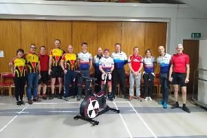 Some of the competitors at the indoor cycling event.