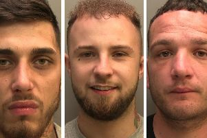 The trio of robbers who terrified staff at a Starbucks in Peterborough and a Co-op store in Ancaster.