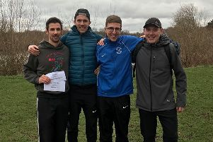 The winning PAC men's team of, from the left, Kirk Brawn, Shaun Walton, Dominic Moszkal and coach Andy Barber.