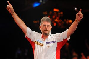 Martin Adams celebrates winning the BDO World Darts Championship in 2011.