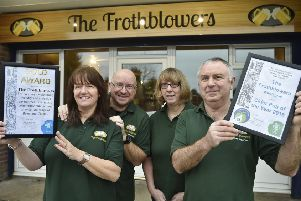 Louise Lawrence, John Lawrence, Debbie Williams and Steve Williams at The  Frothblowers, Werrington, the new Peterborough Camra branch Pub of the Year.