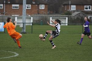 Katie Steward scores the first of her three goals.