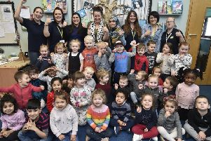 Staff and children at the Cygnets pre-school at Hampton -  who have gained an outstanding OFSTED EMN-190115-112700009