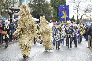 Straw Bear Festival at Whittlesey 2019 with Morris  Dancing in Market Street EMN-190119-121635009
