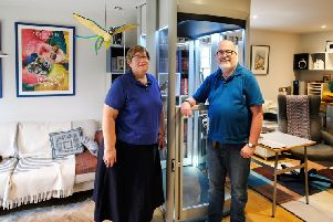 Peter & Viv Kilburn with their newly installed Stiltz Homelift at Whittlesey, Cambridgeshire, 10th January, 2019. Photo by John Robertson for Stiltz Lifts/SCS PR.