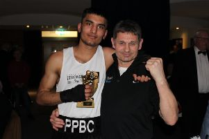 First round winner Imran Aref with coach Paul Goode.