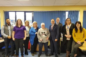 Shailesh Vara (fourth from right) during his visit to Deafblind UK