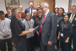 The Peterborough Limited board greet members of the building cleaning team on their first day