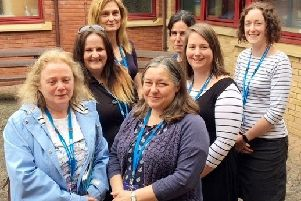 Juli Broder (centre) with colleagues (left to right) Sarah Ennis, Debs Murthwaite, Dr Nikolett Kabacs, Laura Purran, Kellie Sargant and Emily McLaughlin from the Perinatal Mental Health Team