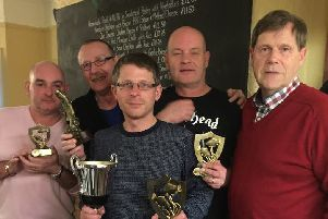 Peterborough Telegraph angling correspondent Ken Wade presented the trophies to those successful in the Cock Inn Angling Club's summer series. The top rod was Chris Shortland, who won seven matches and accumulated 193 points over the season. Runner-up was  Stan Hodgkiss with five wins and 178 points and third Steve Smith  with one win and 175 points. A new trophy for the biggest fish of the season was presented to Danny O'Brien for catching a massive 20lb 13oz carp in the Kingsland club match. From the left are Steve Smith, Danny O'Brien, Chris Shortland, Stan Hodgkiss and Ken Wade.