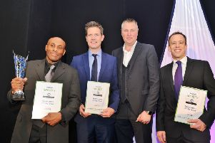 Rob Taylor (left) pictured after winning last year's Sportsman of the Year prize.