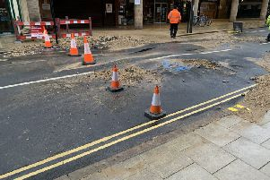 The burst water main in Westgate. Photo: Sukhi Dhamrait