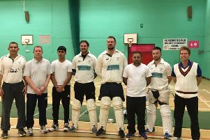 The Ufford Park team that won the Hunts Indoor Cricket League, left to right, Sandeep Dahiya, Jan Neville (Captain), Ibrahim Javeed, Andy Larkin, Joe Harrington, Waheed Javeed, Joe Corder and Jonathan Bigham.