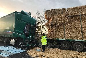 The scene of the two lorry crash on the A14 this morning. Photo: @Traffic_Sgt