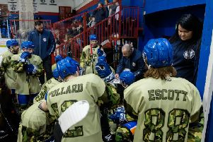Phantoms coach Slava Koulikov addresses his players during a timeout in a match against Bracknell.