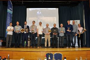 Peterborough Cycling Club trophy winners. From the left are Adrian McHale, Kevin Hobbs, Tom Dolby, Paul Pardoe, guest Robbie Ferri, Alan Brophy, Dave Yarham, Martin Bullen, Paul Townsin, Paul Stevenson and Phil Jones.