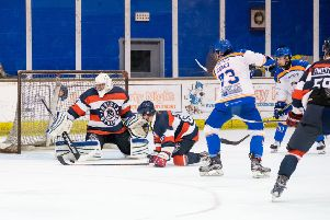 Taylor Romeo fires another effort at the Invicta goal during Sunday's 15-0 win.