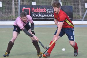 Danny Sisson (red) in action for City of Peterborough against Teddington. Photo: David Lowndes.