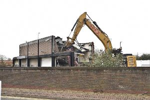 Demolition works at the site of the former Bridge Street Police Station