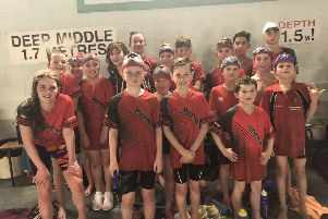 The Deepings Swimming Club squad which competed in round one of the 2019 Junior Fenland League in Boston.