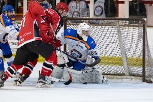 Phantoms netminder Jordan Marr makes a save. Photo: �2018 Tom Scott. All rights reserved.