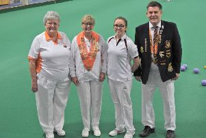 The county hierarchy with four-time winner Helen Holroyd . Left to right are Viv Hempsell (women's deputy president), Chris Ford (women's president) and Dick Noble (men's president).