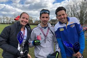 Top PAC runners at the Oundle 20. From the left they are  Daniella Hart, Kirk Brawn and James Whitehead.